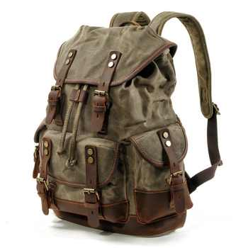2020 Vintage Canvas Leather Backpacks for Men Laptop Daypacks Waterproof Canvas Rucksacks Large Waxed Mountaineering Travel Pack
