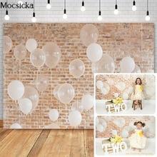 Balloons Brick Wall Photography Backdrop Children Cake Smash Portrait Background Newborn Birthday Photocall Studio Props