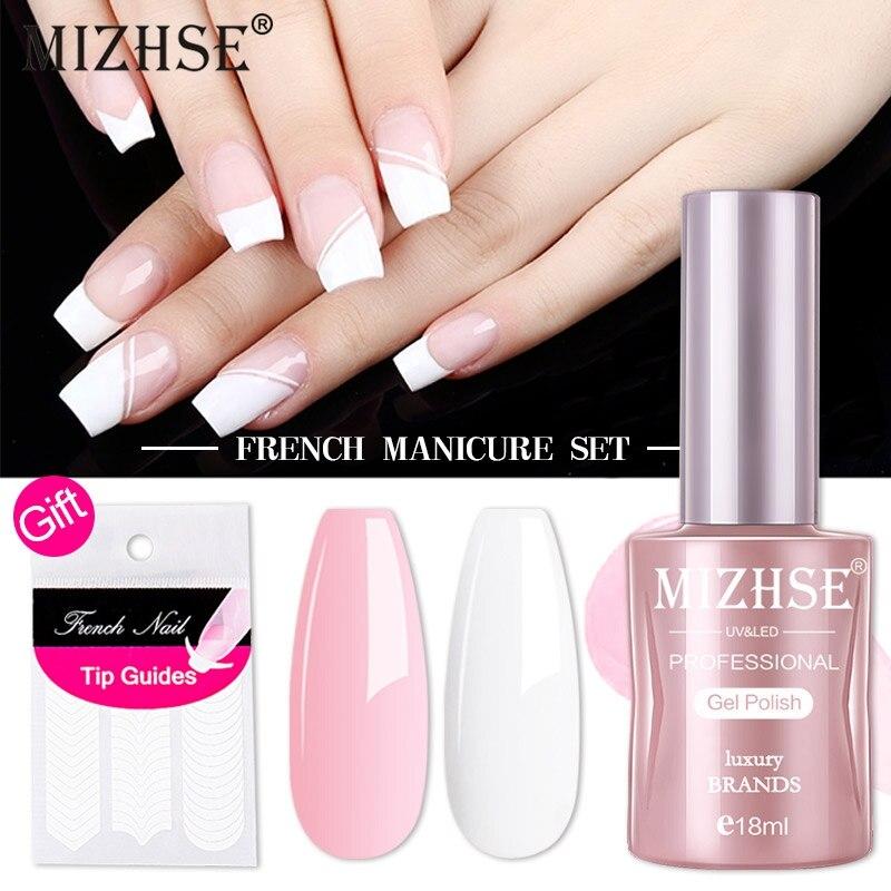 Гель-лак для ногтей белый и розовый, 18 мл