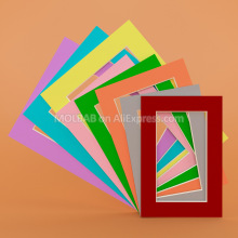 6/7/8inch Photo Mats DarkRed/Gray/Orange/Green/Pink/Yellow/Blue/Purple Paperboard Mount For Picture Frame Passe-Partout 6PCS/Lot