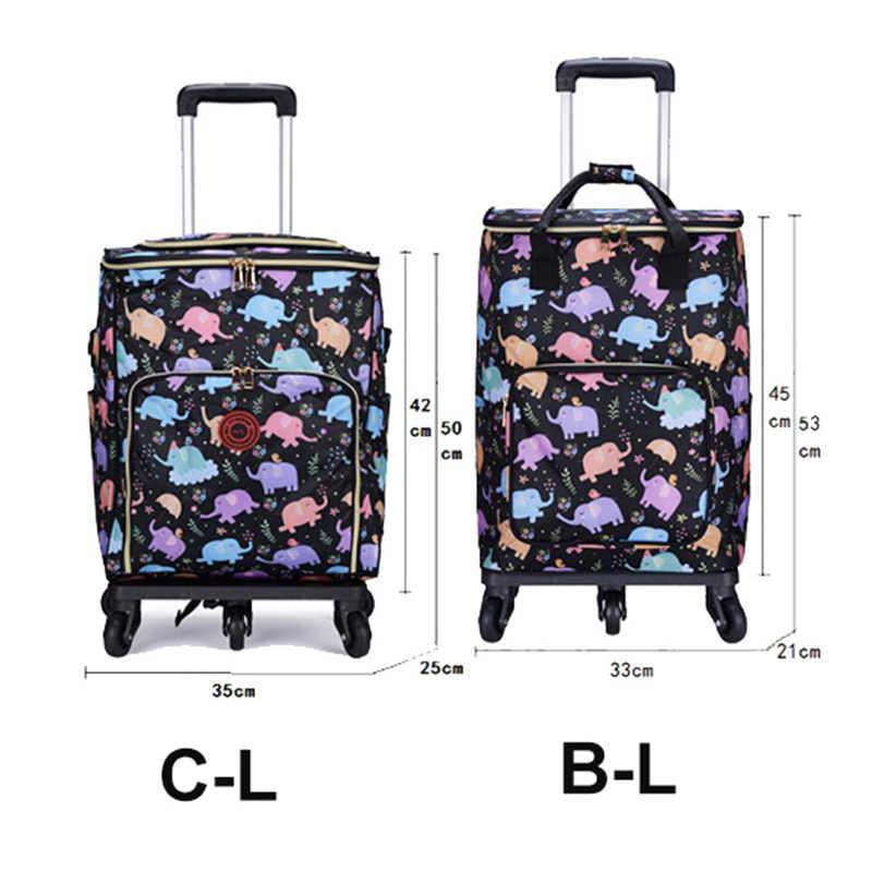 JULY'S SONG حقيبة تسوق عربة للطي حقيبة محمولة للتسوق سعة كبيرة الخضروات المنظم حقيبة التخزين