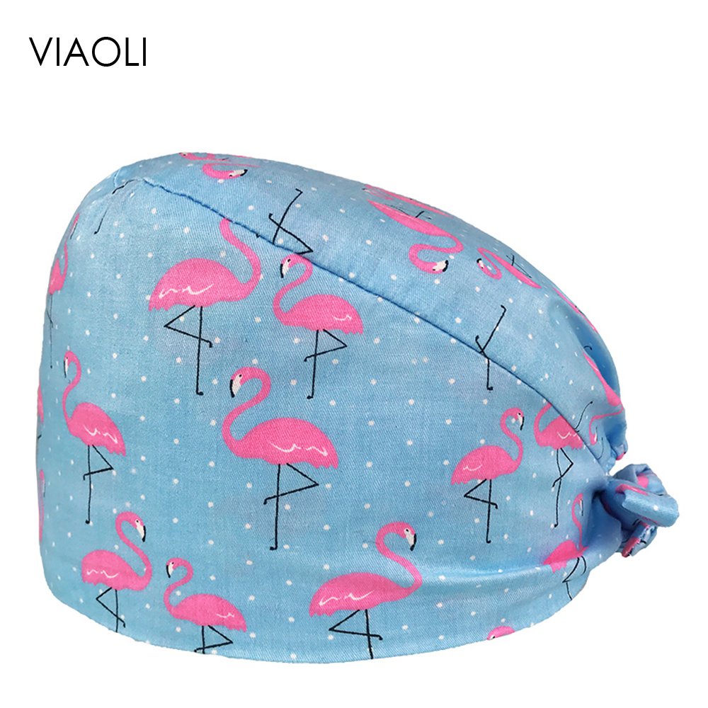 VIAOLI Print Black Tieback Elastic Section 100% Cotton Surgical Caps Scrub Caps for men Women Hospital Medical Hats Arrival 127