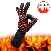 1 stuk 500 Graden Hoge Temperatuur Siliconen Beschermende Handschoen Magnetron BBQ Aramid Cut proof Waterdichte Industriële Handschoenen