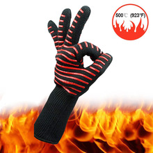 1piece 500 Degree High Temperature Silicone Protective Glove Microwave Oven BBQ Aramid Cut proof Waterproof Industrial Gloves