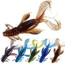 5 pçs crazy flapper macio isca de pesca isca de silicone 100mm artificial softbait iscas camarão baixo peche engrenagem para produtos de peixe enfrentar