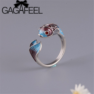 GAGAFEEL S925 Sterling Silver Ring For Women Enamel Carp Koi Open ring Cloisonne Matte Classical Jewelry Vintage Fish Rings(China)