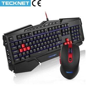 TeckNet Gaming Keyboard and Mouse Luminous LED Keyboard Backlit USB Wired PC Gamer Kit UK Layout Gaming Keyboards for Windows(China)