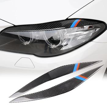 1 زوج غطاء المصباح الحاجبين سيارة لسيارات BMW 5 سلسلة F10 2010-2013 تقليم شارات ديكور المصباح الحاجبين 1