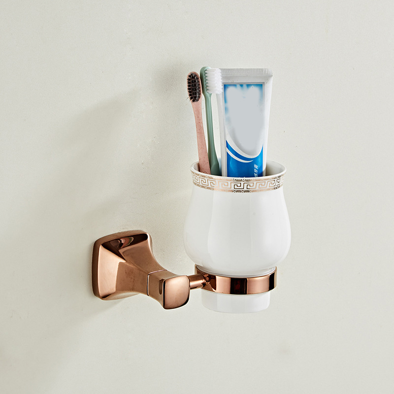 European Rose Gold Single Cup Ceramic Toothbrush Cup Holder Bathroom Pendant Couple Mouth Cup image