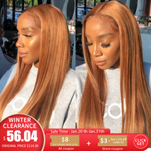 Ginger Blonde Lace Front Wig Straight Pre Plucked Peruvian 1