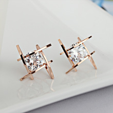Japanese and Korean New Square Zircon Earrings Tic Tac Toe Geometric Hollow
