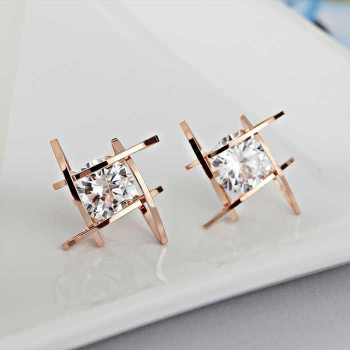 Nuevos pendientes de circón cuadrado japonés y coreano pendientes del dedo del pie pendientes geométricos de Zircón hueco