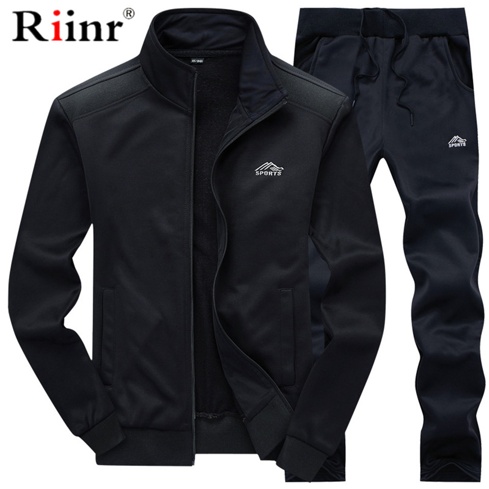 Tracksuits Men Polyester Sweatshirt Sporting Fleece 2019 Gyms Autumn  Jacket + Pants Casual Men's Track Suit Sportswear Fitness