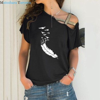 Summer 2020 Women Tshirt Casual Short Sleeves Tops Tees Sexy Irregular Feather Print T-Shirts Loose Plus Size - discount item  34% OFF Tops & Tees