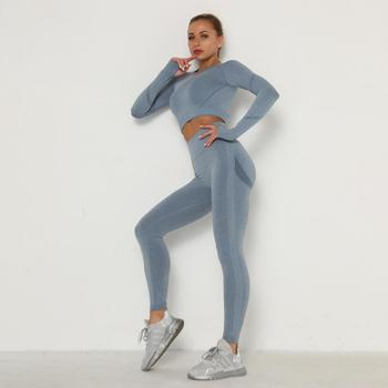 Sportswear Women Gym Clothes Tracksuit Clothing Fitness Leggings Cropped Shirts Sport Suit set Women Long Sleeve Sportwear image