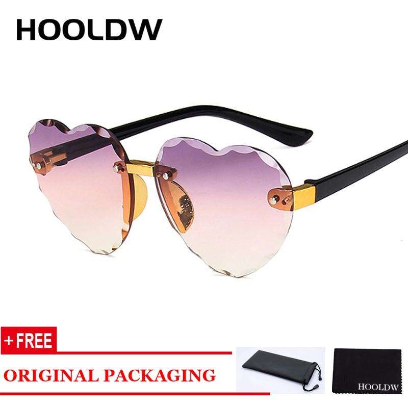 HOOLDW 2020 New Rimless Kids Sunglasses Girls LOVE Heart Shape Children Sun Glasses Outdoors Travel Eyewear UV400 Oculos De Sol