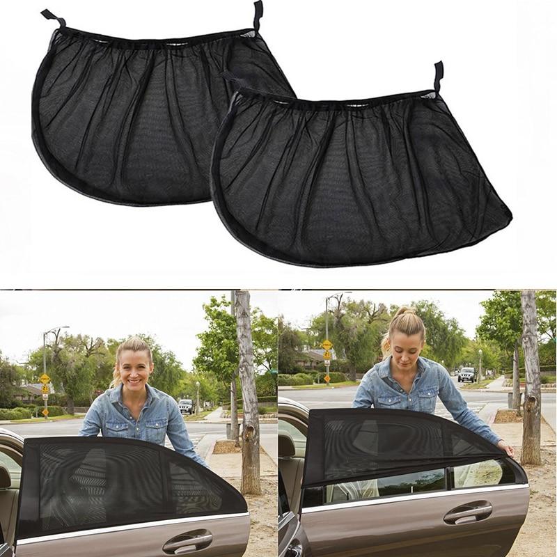 2Pcs Car Side Window Cover Sunshade Curtain UV Protection Shield Mesh Fabric Sun Visor Shade For Most Car Auto Side Rear Window