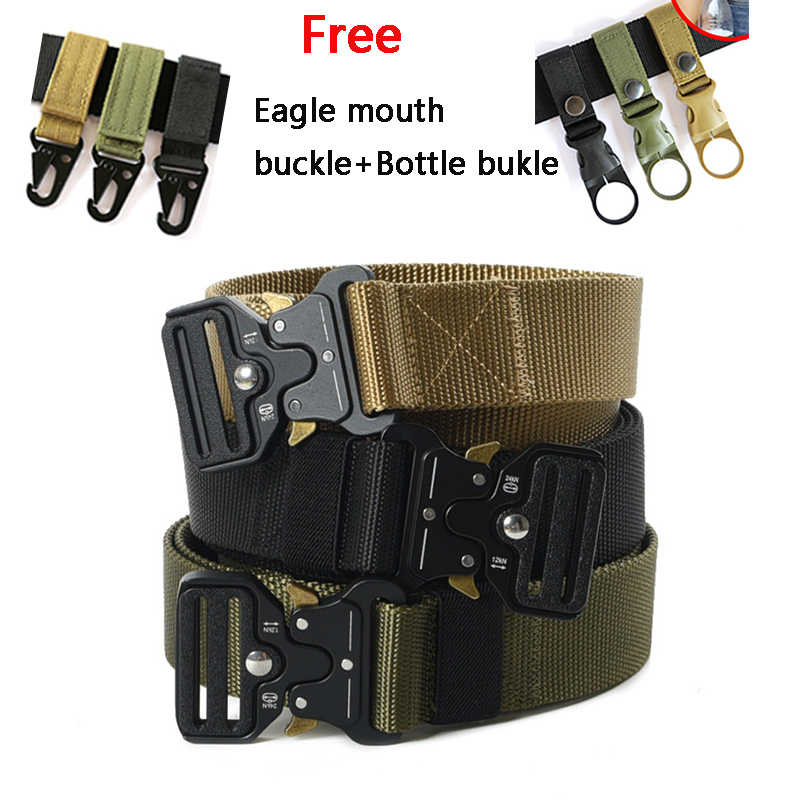 Quick-Release Tactische riem Militaire Fake Nylon mannen training riem metalen multifunctionele gesp outdoor sport haak nieuwe