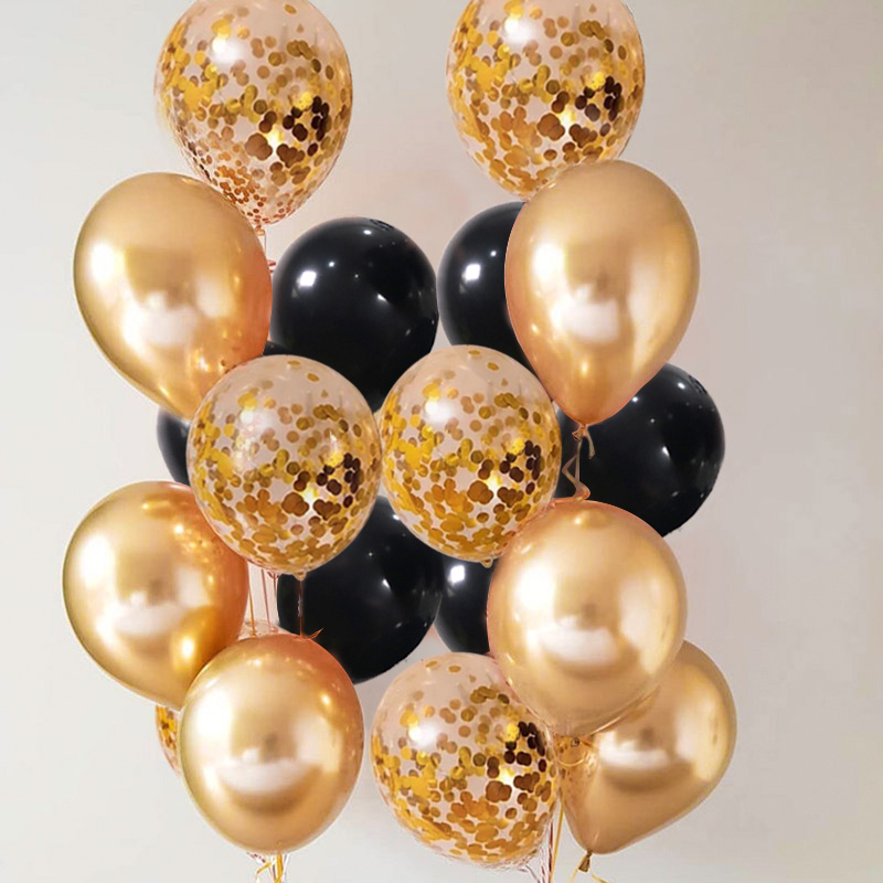 Gold Black Confetti Balloons Rustic Wedding First Birthday Table Decoration Boy Girl Baby Adult Bridal Shower Bachelorette Party