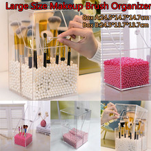 Large Size Makeup Brush Storage Container with Lid Transparent Cosmetic Brush Organizer with 500g Beads Desk Dustproof Box