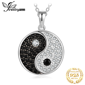 Image 1 - JPalace Taiji Natural Black Spinel Pendant Necklace 925 Sterling Silver Gemstones Choker Statement Necklace Women No Chain