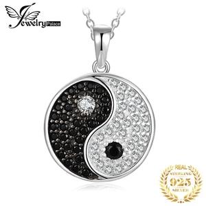 Image 1 - JPalace Taiji naturel noir spinelle pendentif collier 925 en argent Sterling pierres précieuses collier ras du cou femmes sans chaîne
