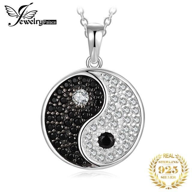 JPalace Taiji naturel noir spinelle pendentif collier 925 en argent Sterling pierres précieuses collier ras du cou femmes sans chaîne