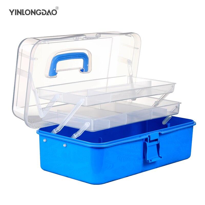 Camadas de Plástico Caixa de Armazenamento Caixa de Armazenamento com Alça Portátil Dobrável Ferramentas Organizador Caixa Multiuso Jóias Contas com Alça 3
