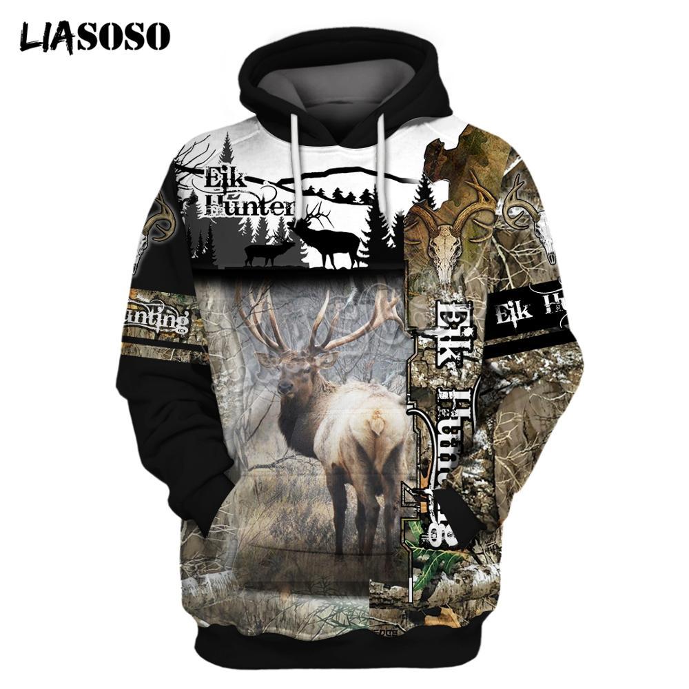LIASOSO 2020 Hoodie Beutiful Deer Hunting Camo 3D Printed Hooded Sweatshirts Unisex Casual Streetwear Hoody Wholesale And Retail