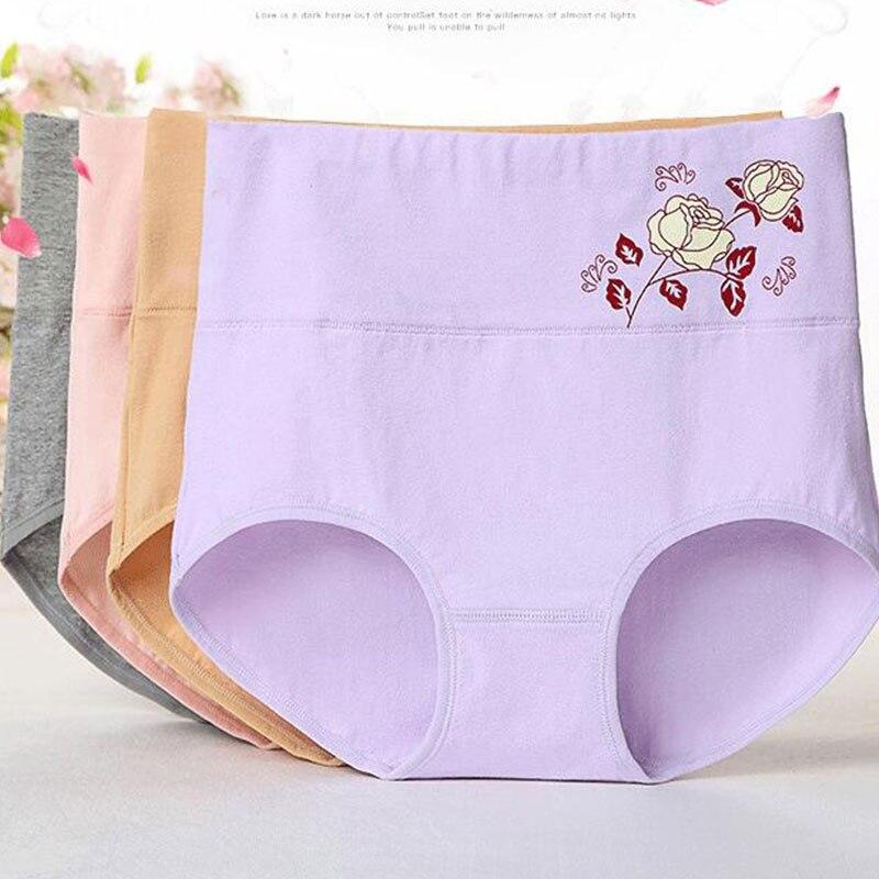 Lady Cotton Briefs Floral Elastic Cotton Panties Women High Waist Underwear Comfort Spring Autumn Pants Lingerie 2020 New