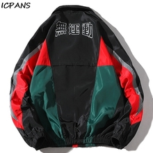 ICPANS 2019 Autumn Windbreaker Jackets Hip Hop Tracksuit Cardigan StreetWear Fashion Mens Man Splice Jacket
