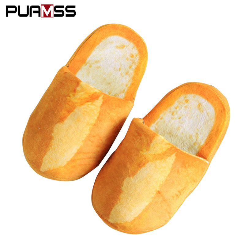 Soft Slippers Home-Shoes Bedroom Funny Bread-Lovers Floor Winter Women Indoor New Warm