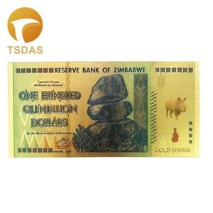 Zimbabwe Banknotes One Hundred Quintillion Dollars Gold Fake Banknotes 1pc Drop Shipping(China)