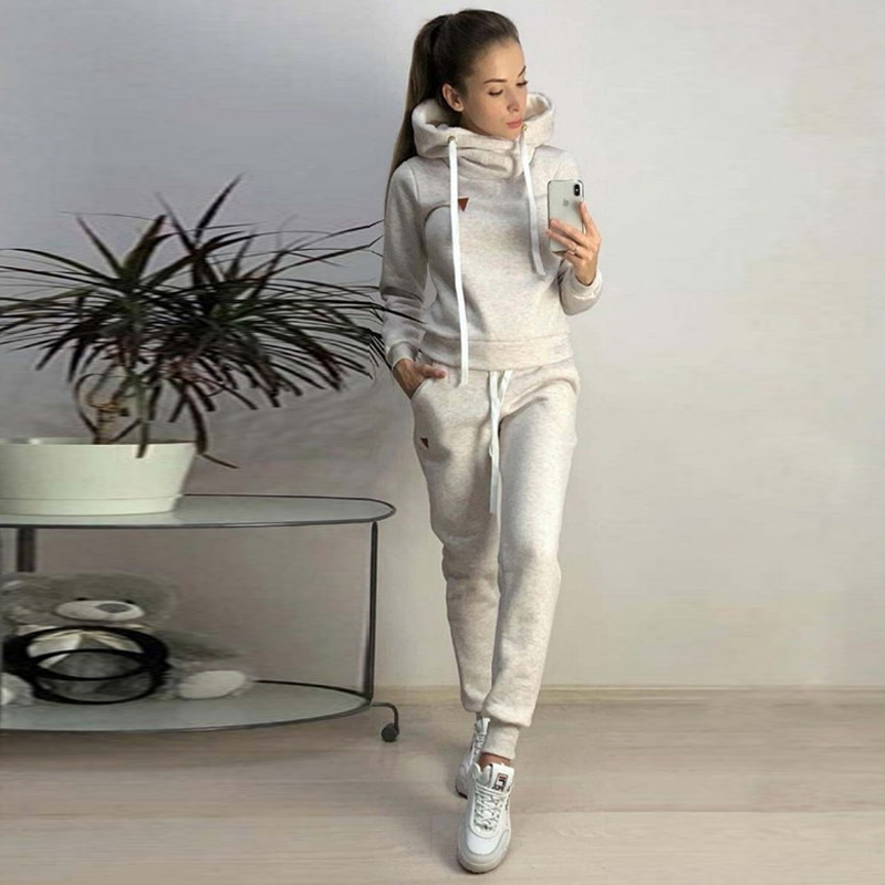 JODIMITTY 2020 New Autumn Winter Women Sets Tracksuit Female Long Sleeve Pullover Jackets And Pants Two Piece Set Warm Outfits