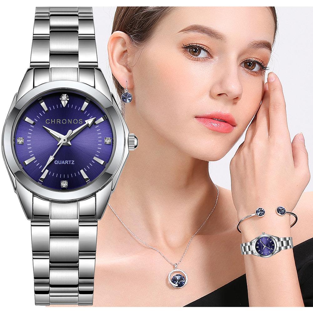 CHRONOS Women Stainless Steel Rhinestone Watch Silver Bracelet Quartz Waterproof Lady Business Analog Watches Pink Blue Dial 1