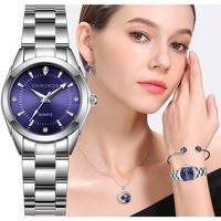 CHRONOS-Reloj de acero inoxidable con diamantes de imitación para mujer, pulsera de plata, de cuarzo, resistente al agua, relojes analógicos de negocios para mujer, esfera rosa y azul