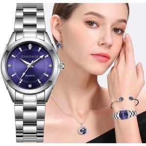 CHRONOS Women Stainless Steel Rhinestone Watch Silver Bracelet Quartz Waterproof Lady Business Analog Watches Pink Blue Dial(China)