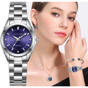 CHRONOS Women Stainless Steel Rhinestone Watch Silver Bracelet Quartz Waterproof Lady Business Analog Watches Pink Blue Dial