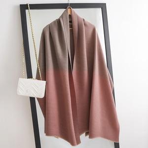 Image 1 - אופנה חורף קשמיר צעיף לנשים להתקמט חיג אב חם פשמינה צעיפים מוצק צבע מטפחת וכורכת ליידי צעיפים