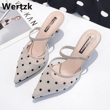 2019 New Polka Dot High Heel Women Sandals Pointed Toe Lace Mules Sanda