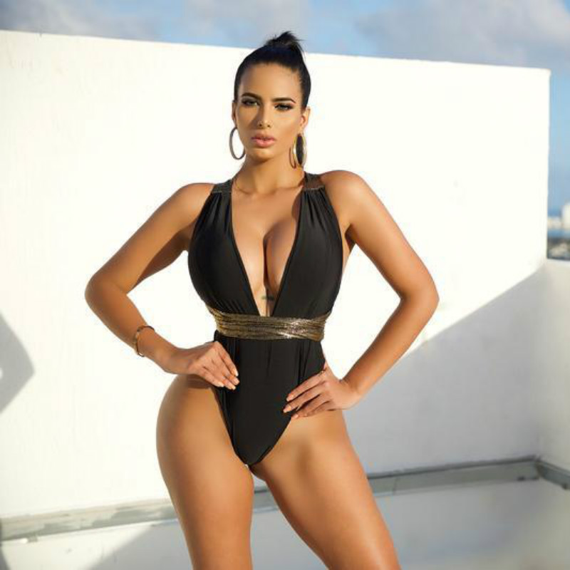 Sexy One Piece Swimsuit Women 2019 Cross Halter High Cut Thong Push Up Deep V-neck Swimwear Plus Size Swim Suit Bathing Suit