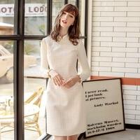 Autumn 2019 New Vintage Cheongsam Dress Tweed Elegant Button Straight Full Sleeve Knee Length Mandarin Collar Womens Fashion