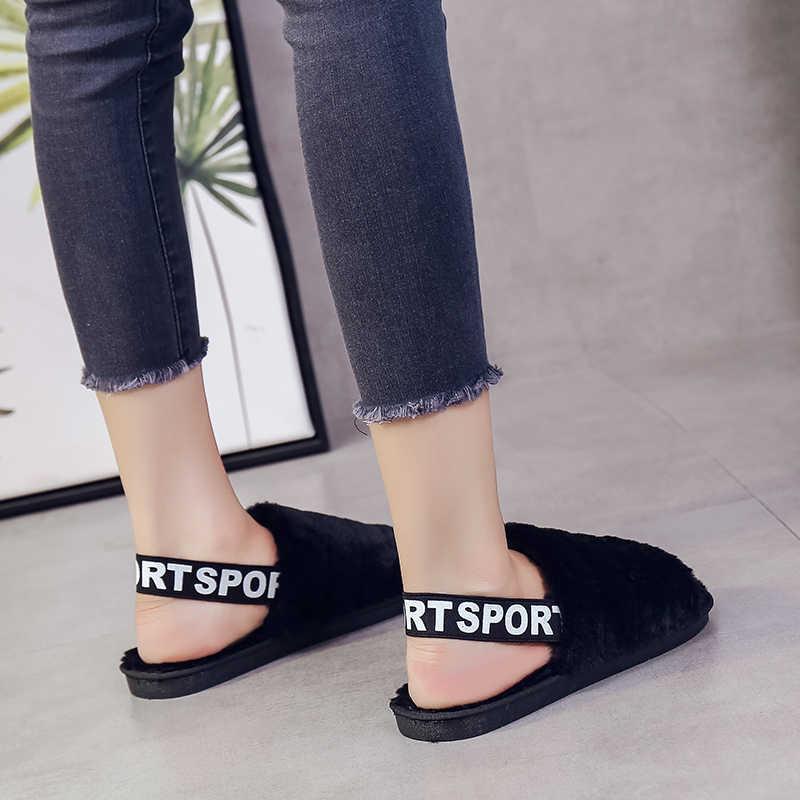MoneRffi Womens Fur Slippers Winter Shoes Big Size Home Slipper Plush Women Indoor Warm Fluffy Cotton Shoe Ladies Shoes 2019 New