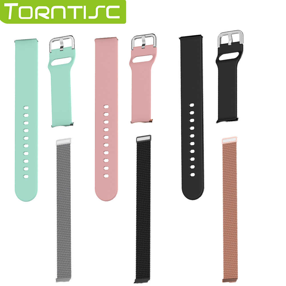Torntisc 20 mm Replaceable Metal Silicone Strap For Smart Watch