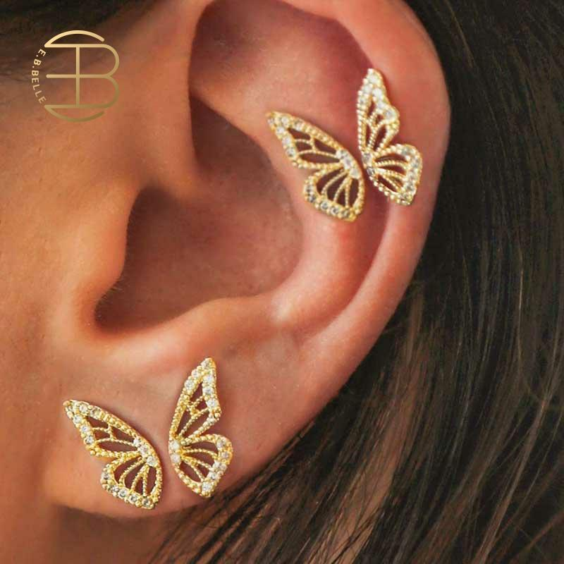 2020 New Gold Rose Gold Color Rhinestone Butterfly Wing Stud Earrings For Women Cute Small Crystal Stud Earring