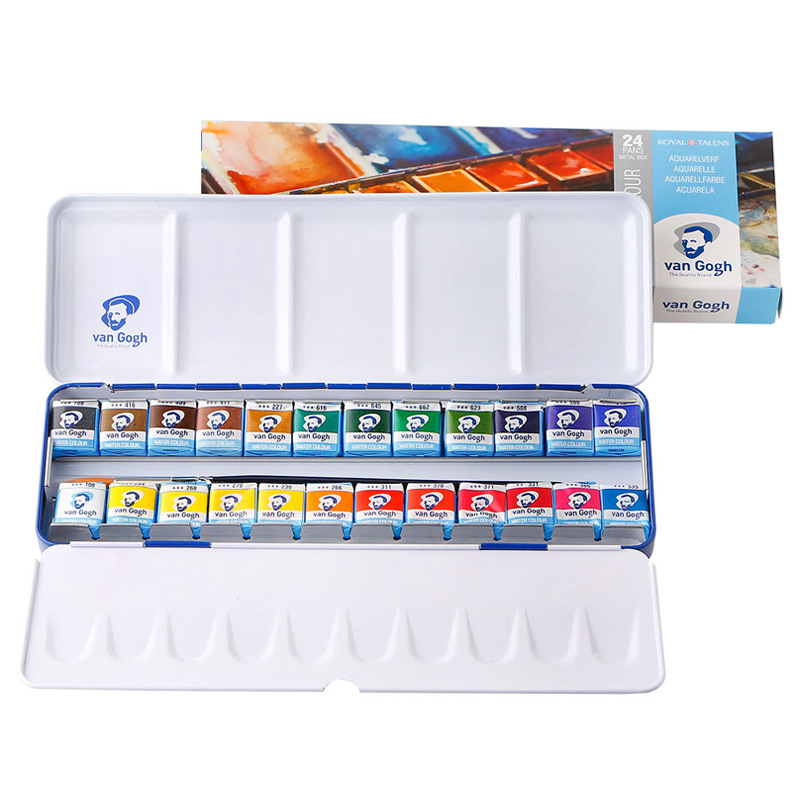 VAN GOGH 24/36 Colors Solid Watercolor Paint Set Professional Water Color For Painting Aquarell Art Supplies