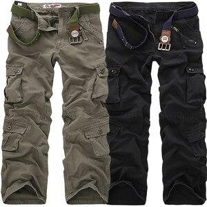 Image 2 - 2020 באיכות גבוהה גברים של מכנסיים מטען מזדמן רופף כיס רב צבאי מכנסיים ארוך מכנסיים לגברים Camo רצים בתוספת גודל 28 40