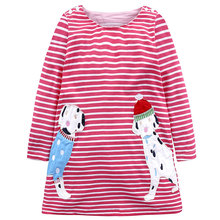 Baby Girls Dress with Cartoon Animals Princess Long Sleeve Dresses Children Autumn Clothing for Kids Dress girls dress spring 2018 children s floral print long sleeve princess yarn dresses autumn teenager kids clothing for 5 15yrs