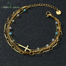 Nextvance – Bracelet à trois chaînes en acier inoxydable, avec perles colorées, pour petite amie, femme, fille, amoureux, cadeau de la saint-valentin