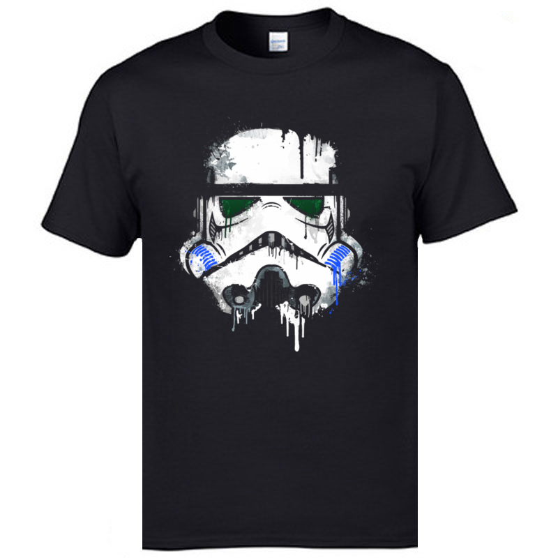 <font><b>Christmas</b></font> <font><b>Star</b></font> <font><b>Wars</b></font> <font><b>Tshirt</b></font> Stormtrooper Darth Vader Jedi Starwars Summer/Autumn Tops T Shirt Wholesale 100% Cotton T Shirt Man image